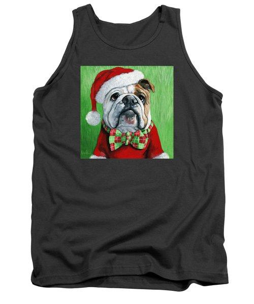 Holiday Cheer -english Bulldog Santa Dog Painting Tank Top by Linda Apple