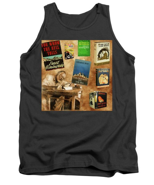 Ernest Hemingway Books 2 Tank Top by Andrew Fare