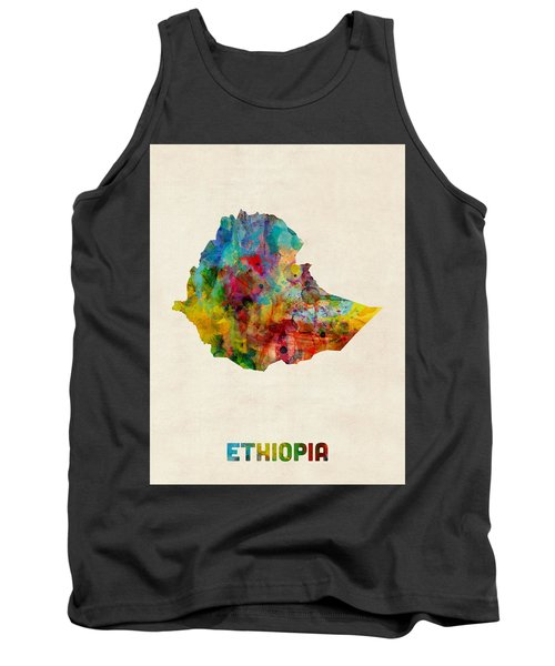 Tank Top featuring the digital art Ethiopia Watercolor Map by Michael Tompsett