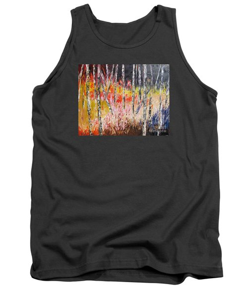 Evening In The Woods Pallet Knife Painting Tank Top by Lisa Boyd