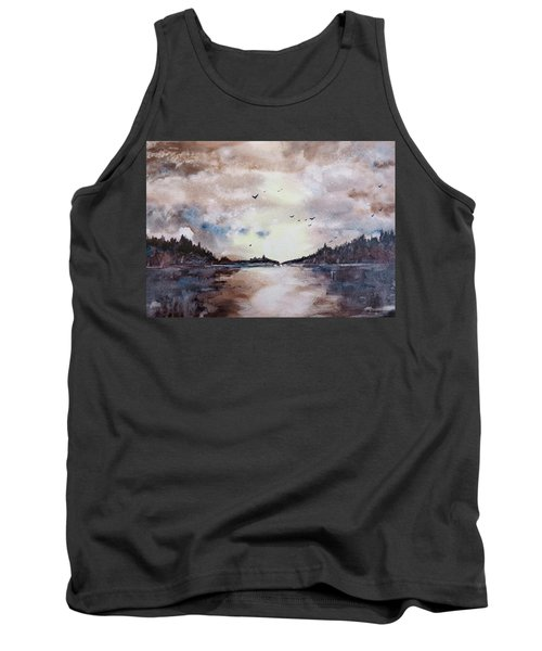 Tank Top featuring the painting Evening Light by Geni Gorani