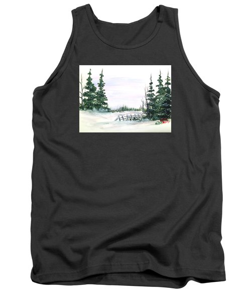 Evergreens In Snow Tank Top by Dorothy Maier