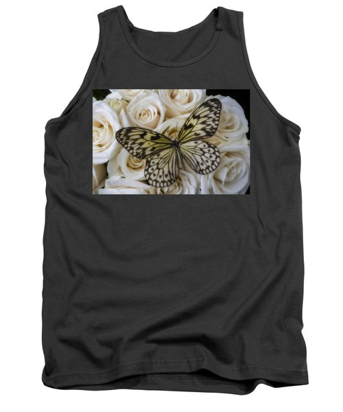 Exotic Butterfly On White Roses Tank Top