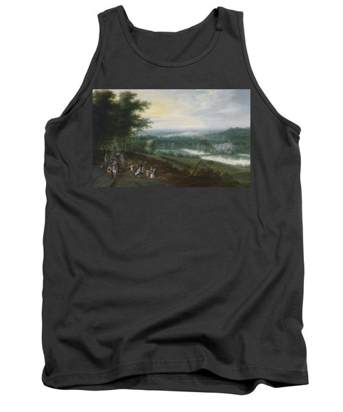 Extensive River Landscape With Travelers And Dancing Peasants On A Path Tank Top