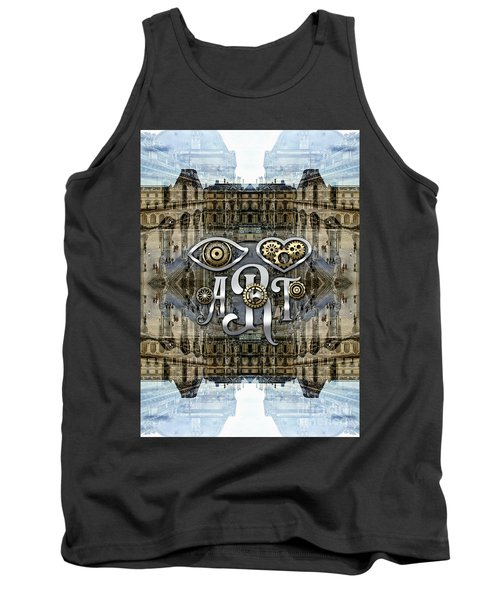 Eye Heart Art Louvre Silver Paris Da Vinci Gears Tank Top