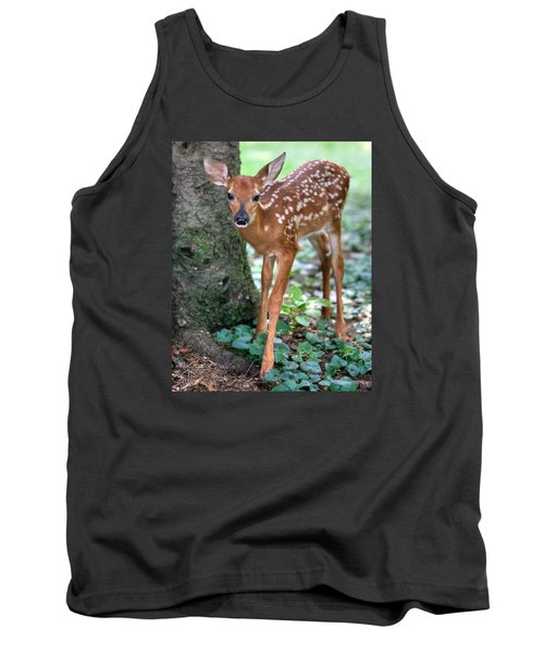 Tank Top featuring the photograph Eye To Eye With A Wide - Eyed Fawn by Gene Walls