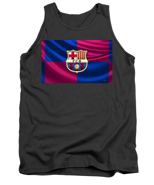 F. C. Barcelona - 3d Badge Over Flag Tank Top