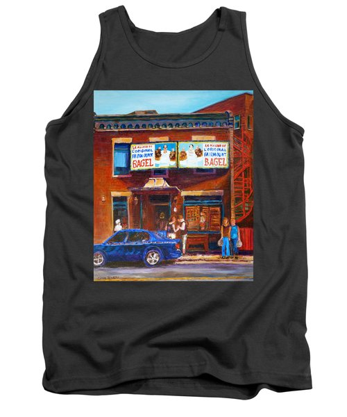 Tank Top featuring the painting Fairmount Bagel With Blue Car  by Carole Spandau