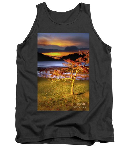 Tank Top featuring the painting Fall Colors At Sunrise In Otter Blue Ridge Ap by Dan Carmichael