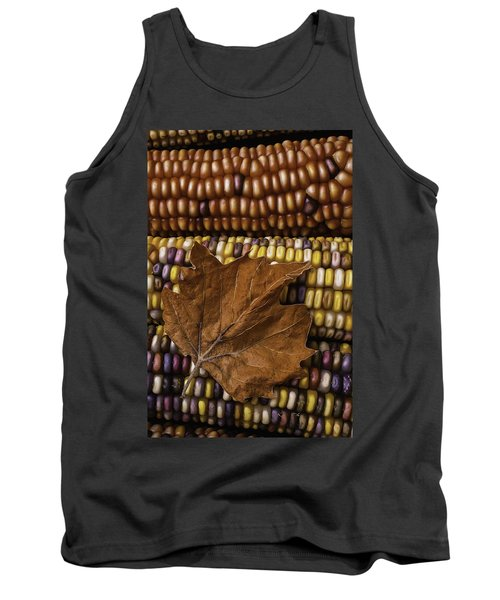 Fall Leaf And Indian Corn Tank Top