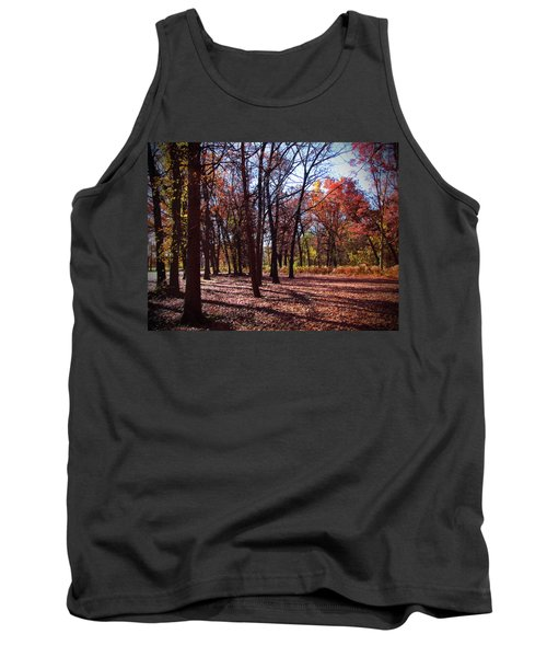 Fall Tree Shadows 2 Tank Top by Cedric Hampton