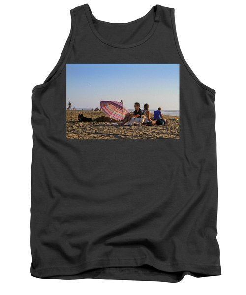 Family At Ocean Beach With Dogs Tank Top