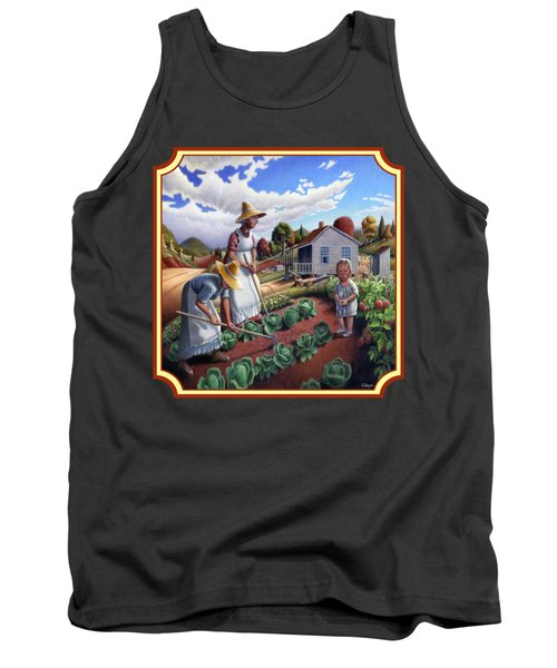 Family Garden Country Farm Landscape - Square Format Tank Top
