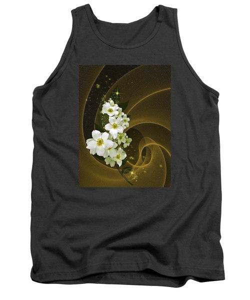 Fantasy In Gold And White Tank Top by Judy  Johnson