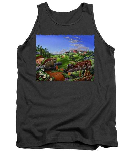 Farm Folk Art - Groundhog Spring Appalachia Landscape - Rural Country Americana - Woodchuck Tank Top by Walt Curlee