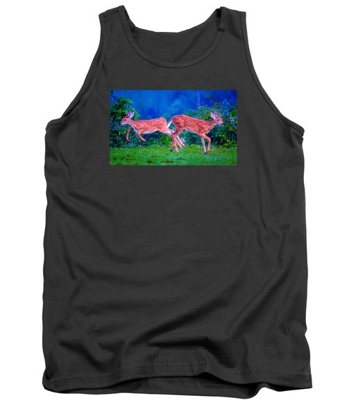 Tank Top featuring the photograph Fawn Frolic by Brian Stevens