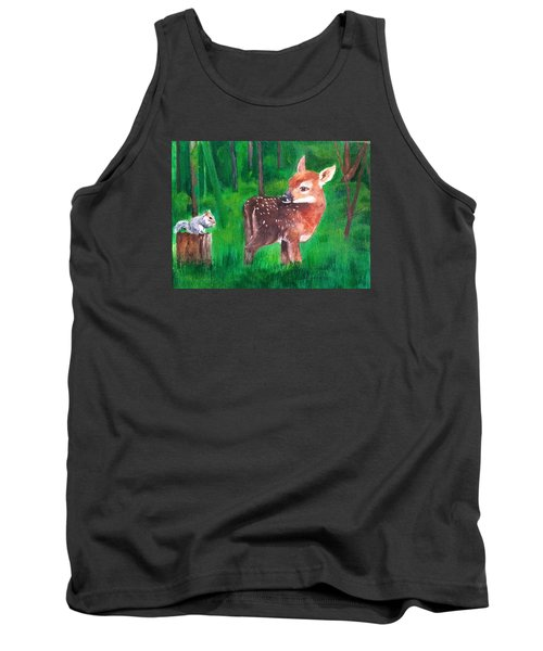 Fawn With Squirrel Tank Top by Ellen Canfield