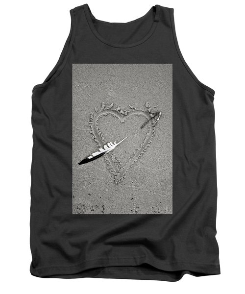 Feather Arrow Through Heart In The Sand Tank Top