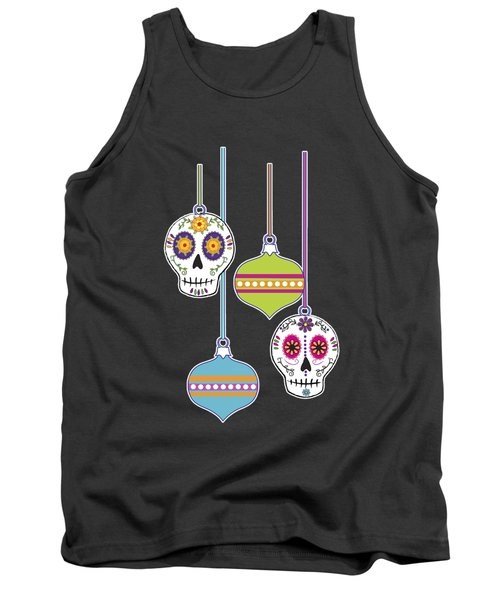 Tank Top featuring the digital art Feliz Navidad Holiday Sugar Skulls by Tammy Wetzel
