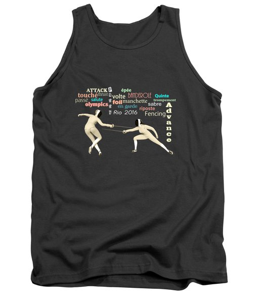 Tank Top featuring the digital art Fencing Duo by Methune Hively