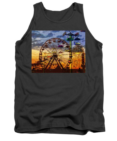 Tank Top featuring the digital art Ferris At Dusk by David Lee Thompson