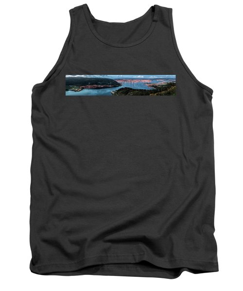 Ferrol's Estuary Panorama From La Bailadora Galicia Spain Tank Top by Pablo Avanzini