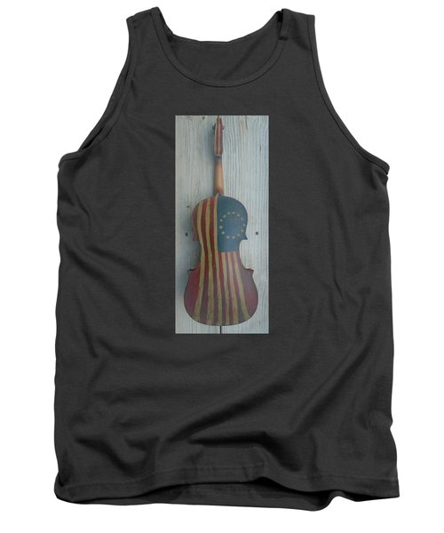 Tank Top featuring the mixed media Fiddle Thirteen Star Flag by Steve  Hester
