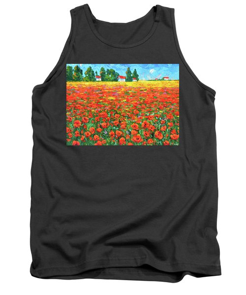 Tank Top featuring the painting Field And Poppies by Dmitry Spiros