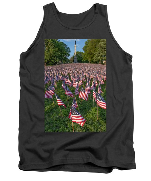 Field Of Flags At Boston's Soldiers And Sailors Monument Tank Top