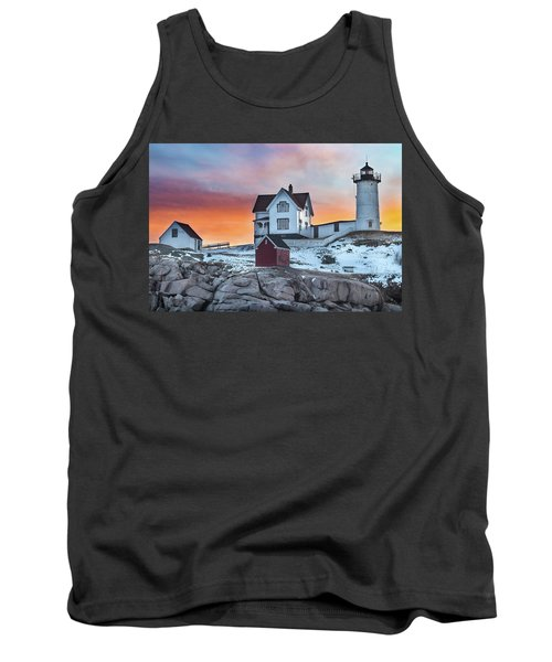 Fiery Sunrise At Cape Neddick Lighthouse Tank Top