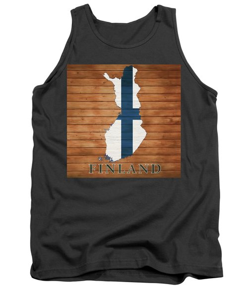 Finland Rustic Map On Wood Tank Top