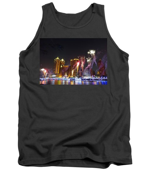 Tank Top featuring the photograph Fireworks Along The Love River In Taiwan by Yali Shi