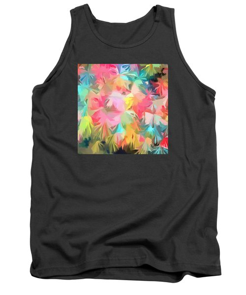 Fireworks Floral Abstract Square Tank Top by Edward Fielding