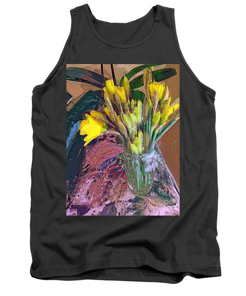 Tank Top featuring the digital art First Daffodils by Alexis Rotella