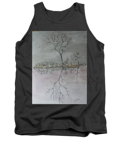 Tank Top featuring the drawing First Frost by Jack G Brauer