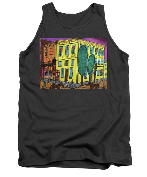 Tank Top featuring the painting First National Hotel. Historic Menominee Art. by Jonathon Hansen