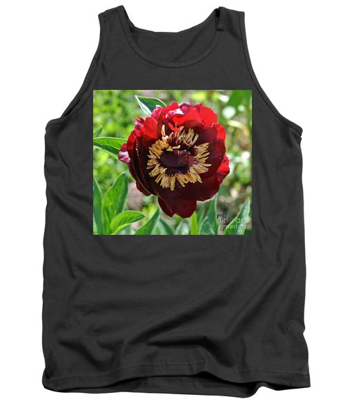 First Peony Bloom Tank Top by Marsha Heiken