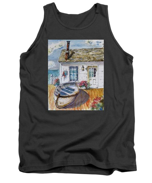 Tank Top featuring the painting Fisherman's Cottage by P Maure Bausch