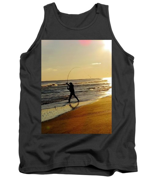 Fishing At Sunset Tank Top