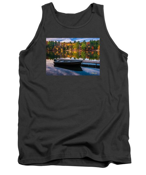 Tank Top featuring the photograph Fishing Boat On Mirror Lake by Rikk Flohr