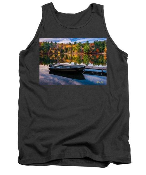 Fishing Boat On Mirror Lake Tank Top