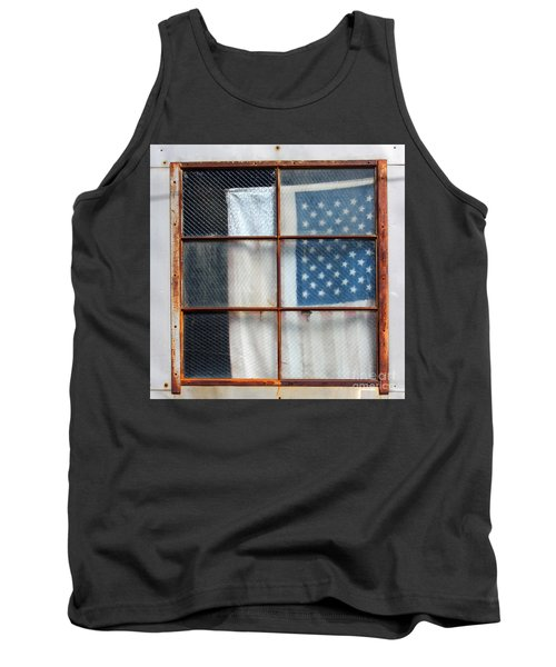 Flag In Old Window Tank Top by Cheryl Del Toro