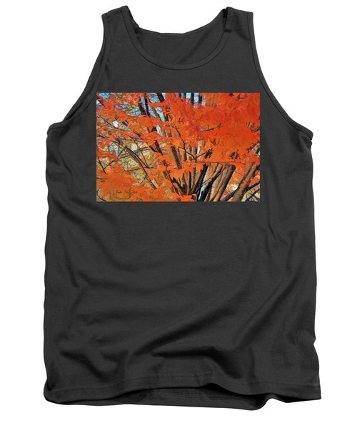 Tank Top featuring the digital art Flaming Fall Foliage by Terry Cork
