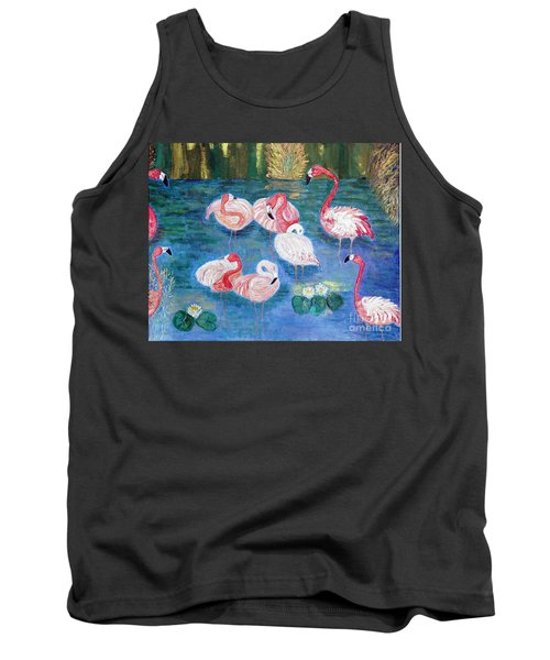 Tank Top featuring the painting Flamingos Diptich Right by Vicky Tarcau