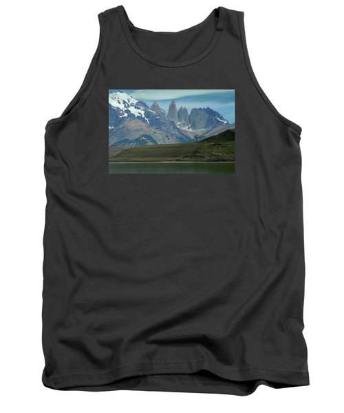 Flamingos Over Lago Nordenskjold Tank Top by Alan Toepfer