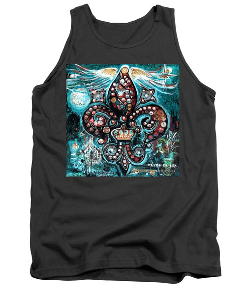Tank Top featuring the painting Fleur De Lis Steampunk Style by Genevieve Esson