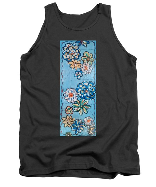 Floor Cloth Blue Flowers Tank Top by Judith Espinoza