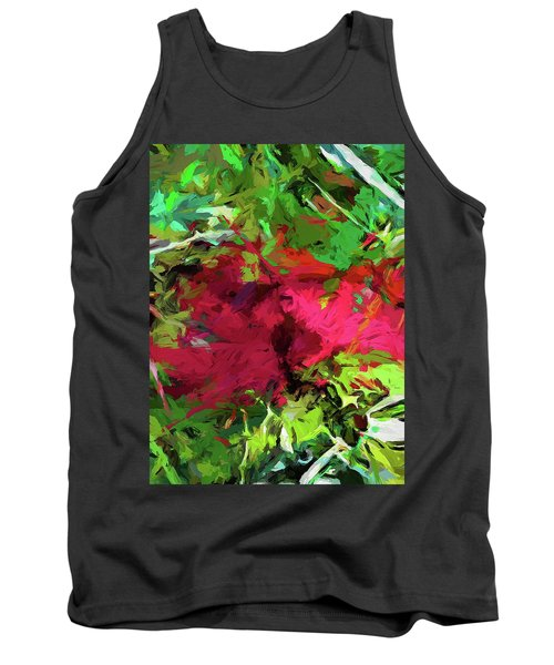 Flower Christmas Red Green Pink Tank Top