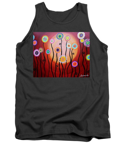 Tank Top featuring the painting Flower Fest by Pristine Cartera Turkus