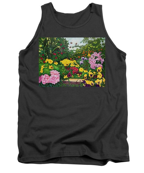 Tank Top featuring the painting Flower Garden Xii by Michael Frank